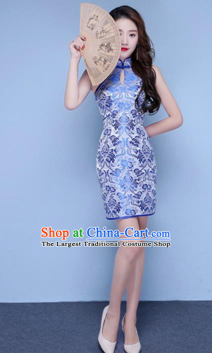 Chinese Traditional Qipao Dress Classical Costume Blue Short Cheongsam for Women