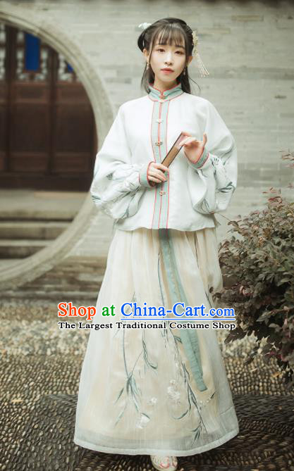Ancient Chinese Ming Dynasty Nobility Lady Historical Costumes Blouse and Skirt Complete Set
