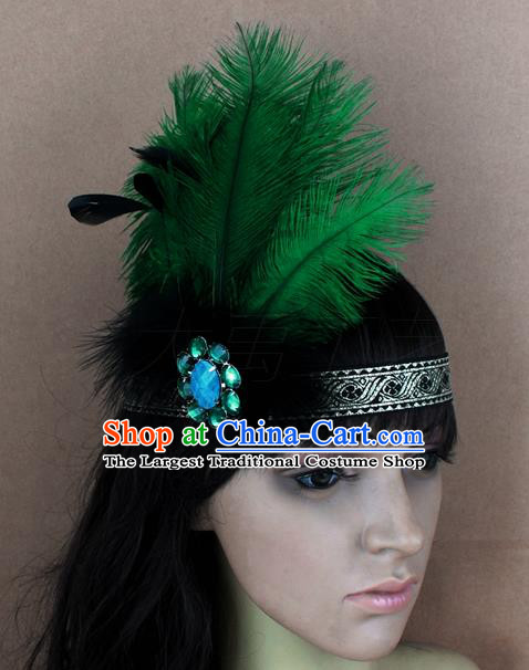 Handmade Halloween Green Feather Hair Clasp Stage Show Feather Hair Accessories for Women