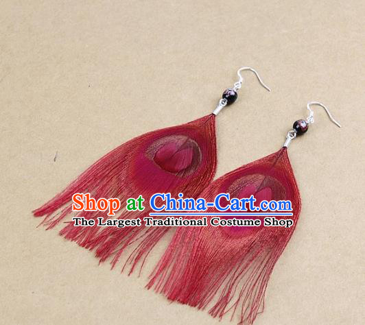 Handmade Feather Retro Earrings Stage Show Ear Accessories Red Feather Eardrop for Women