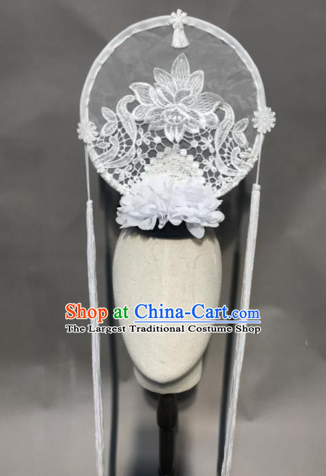 Top Chinese Stage Show White Lace Hair Accessories Halloween Carnival Fancy Dress Ball Headdress for Women