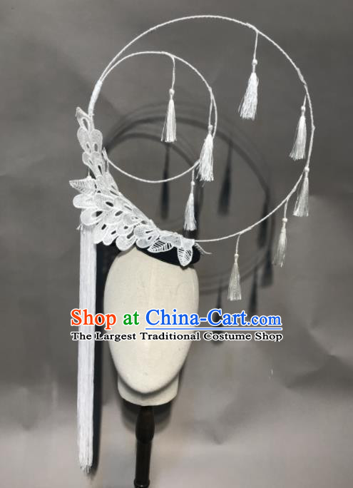 Top Chinese Stage Show White Lace Hair Accessories Halloween Fancy Dress Ball Headdress for Women