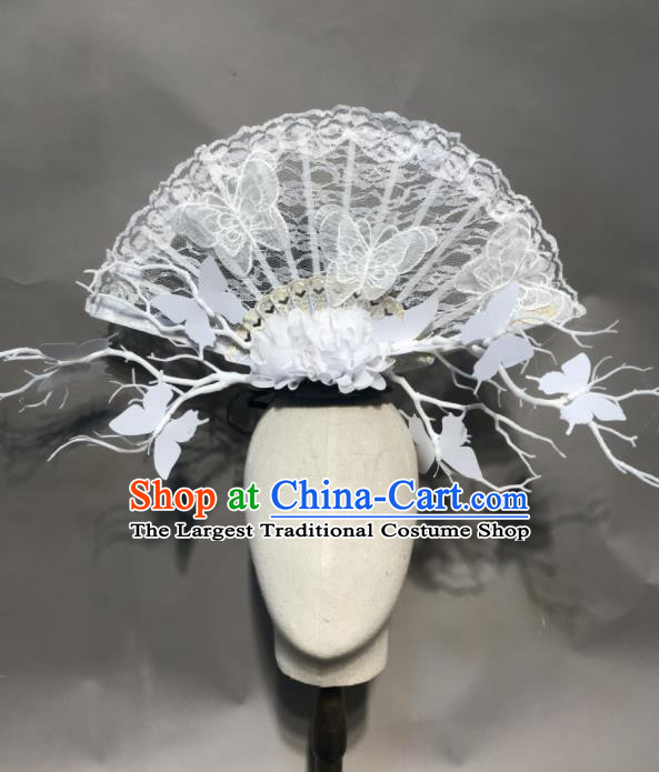 Top Chinese Stage Show White Lace Fan Hair Accessories Halloween Fancy Dress Ball Headdress for Women