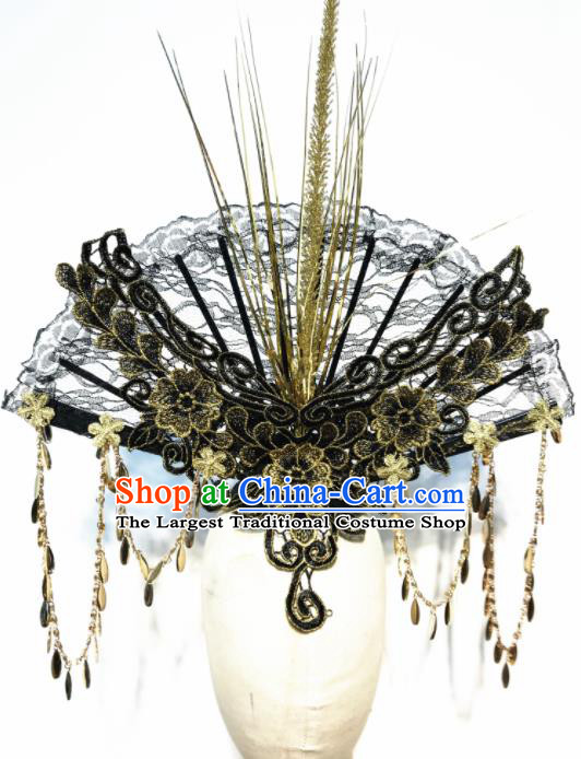 Top Chinese Stage Show Black Lace Fan Hair Accessories Halloween Fancy Dress Ball Headdress for Women