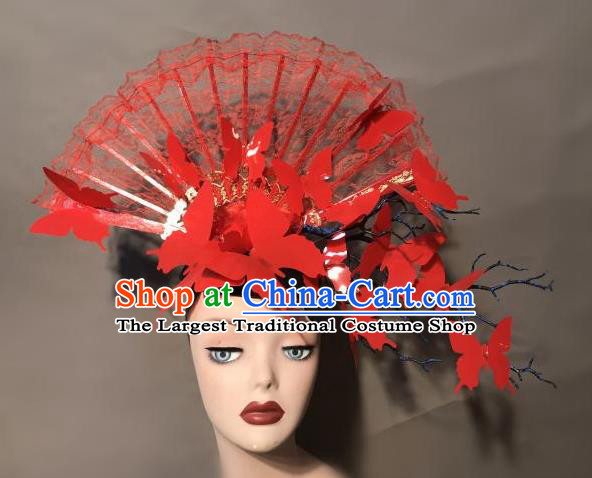Top Chinese Stage Show Red Lace Fan Hair Accessories Halloween Fancy Dress Ball Headdress for Women
