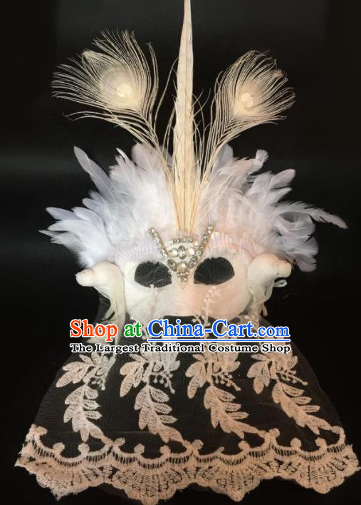 Top Fancy Dress Ball White Feather Lace Masks Brazilian Carnival Halloween Cosplay Face Mask for Women