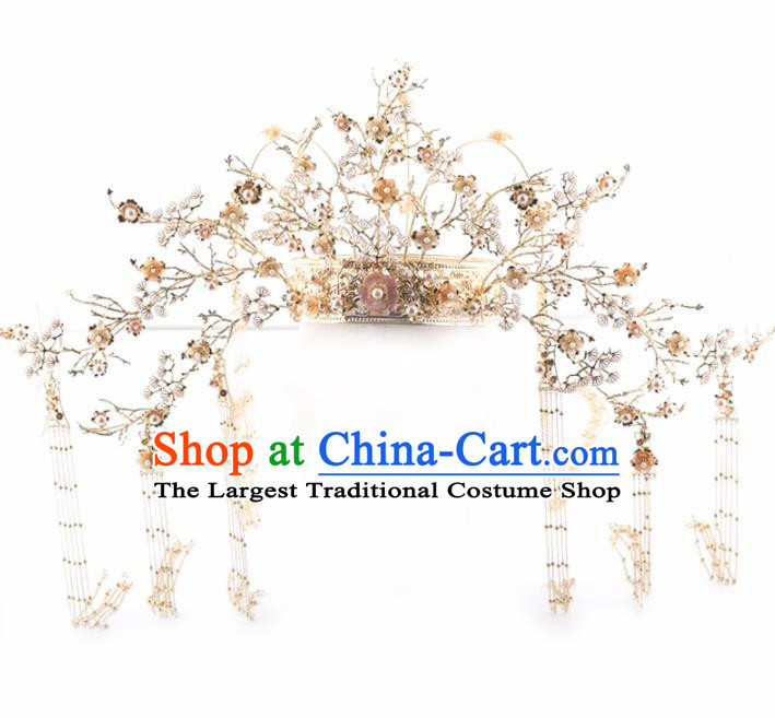 Top Chinese Traditional Palace Hair Accessories Ancient Tassel Phoenix Coronet Hairpins Complete Set for Women