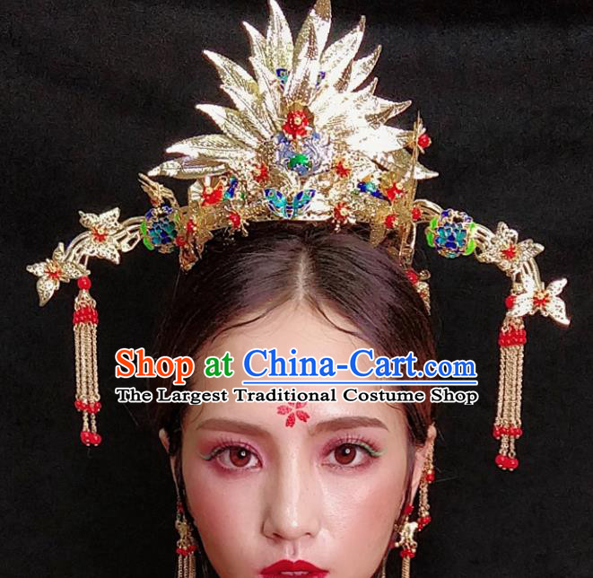 Top Chinese Traditional Wedding Hair Accessories Ancient Lotus Phoenix Coronet Hairpins Complete Set for Women