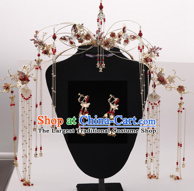 Top Chinese Ancient Traditional Wedding Hair Accessories Tassel Phoenix Coronet Hairpins Complete Set for Women