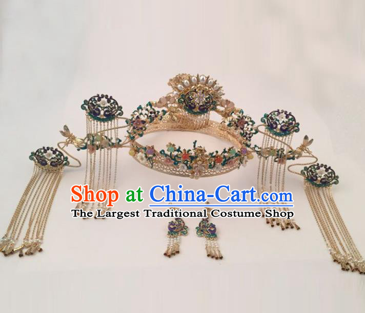 Top Chinese Ancient Traditional Wedding Hair Accessories Cloisonne Phoenix Coronet Hairpins Complete Set for Women