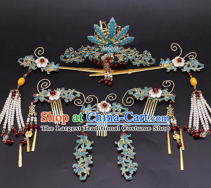 Top Chinese Ancient Traditional Cloisonne Hair Accessories Wedding Phoenix Coronet Hairpins Complete Set for Women