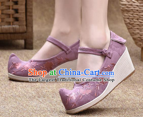 Chinese Shoes Wedding Shoes Traditional Embroidered Shoes Purple High Heeled Shoes for Women