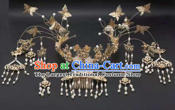 Top Chinese Traditional Wedding Hair Accessories Ancient Golden Butterfly Phoenix Coronet Hairpins Complete Set for Women