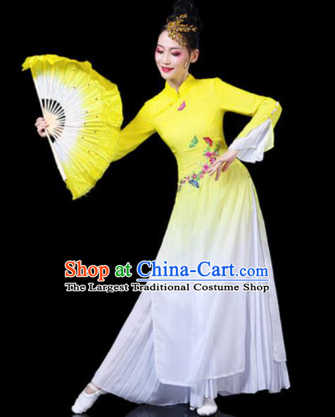 Chinese Traditional Classical Dance Costumes Umbrella Dance Group Dance Yellow Dress for Women
