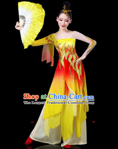 Chinese Classical Dance Costumes Traditional Umbrella Dance Group Dance Yellow Dress for Women