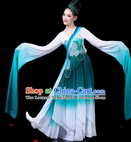 Chinese Classical Dance Costumes Traditional Umbrella Dance Water Sleeve Blue Dress for Women