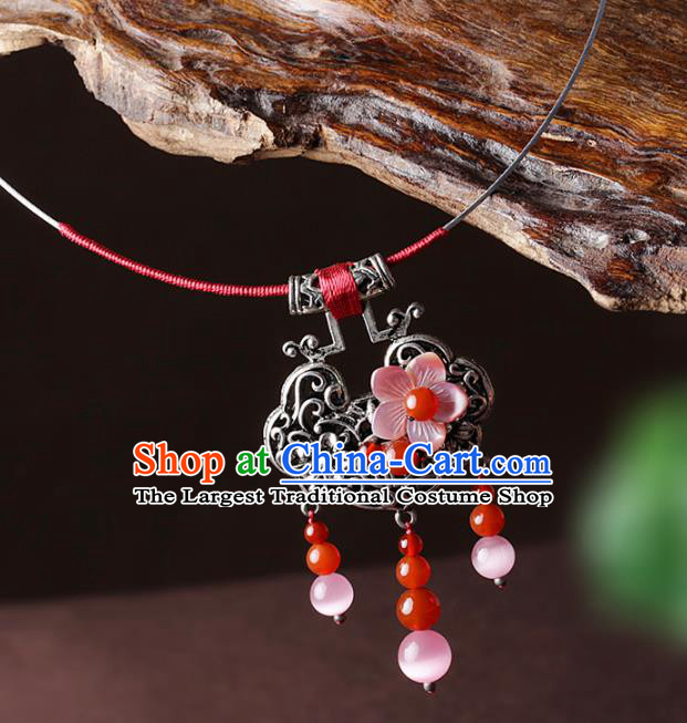 Chinese Traditional Jewelry Accessories National Hanfu Longevity Lock Pink Shell Necklace for Women