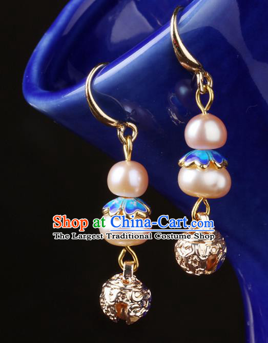 Chinese National Hanfu Classical Pink Pearls Earrings Traditional Ear Jewelry Accessories for Women