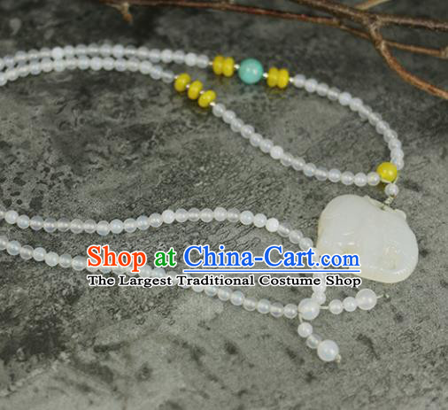 Handmade Chinese Traditional Jade Elephant Necklace Traditional Classical Hanfu Necklet Jewelry Accessories for Women