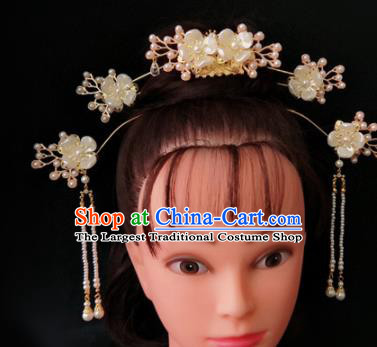 Chinese Ancient Traditional Hanfu Shell Hairpins Hair Comb Handmade Classical Hair Accessories for Women