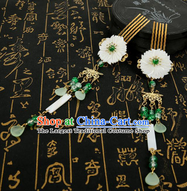 Chinese Ancient Traditional Hanfu Green Tassel Hair Comb Hairpins Handmade Classical Hair Accessories for Women