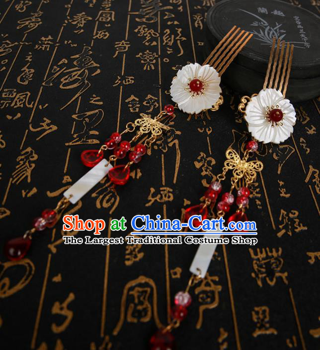 Chinese Ancient Traditional Hanfu Red Tassel Hair Comb Hairpins Handmade Classical Hair Accessories for Women