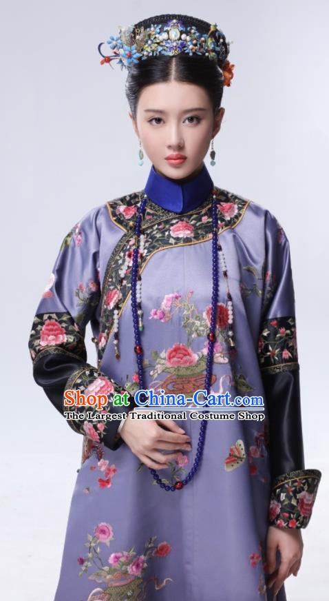 Chinese Ancient Drama Ruyi Royal Love in the Palace Qing Dynasty Manchu Imperial Consort Embroidered Costumes and Headpiece Complete Set