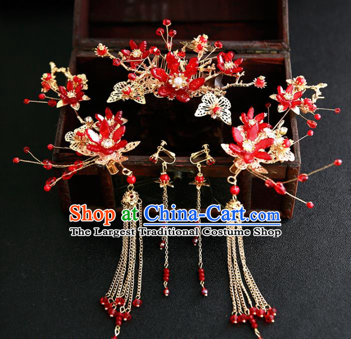 Chinese Ancient Traditional Hanfu Red Flowers Hair Comb Hairpins Handmade Classical Hair Accessories for Women