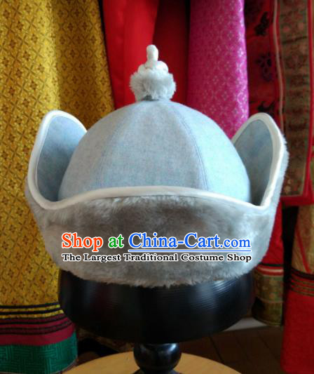 Traditional Chinese Mongol Nationality Folk Dance Hats Mongols Ethnic Blue Hat for Men