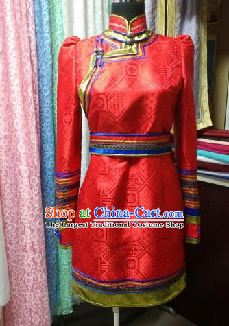 Traditional Chinese Mongol Nationality Folk Dance Costumes Mongolian Ethnic Female Red Dress for Women