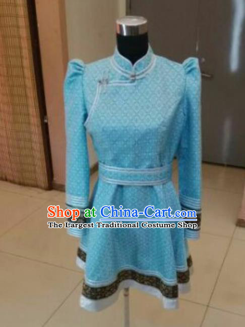 Traditional Chinese Mongol Nationality Folk Dance Costumes Mongolian Ethnic Female Blue Dress for Women