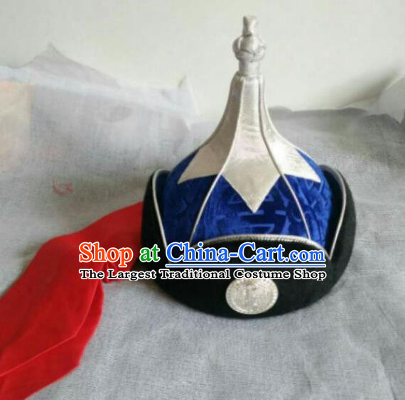 Traditional Chinese Mongol Nationality Folk Dance Hats Mongols Ethnic Royal Highness Blue Hat for Men
