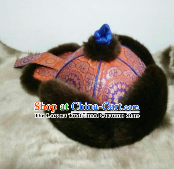 Traditional Chinese Mongol Nationality Folk Dance Hats Mongols Ethnic Royal Highness Orange Hat for Men