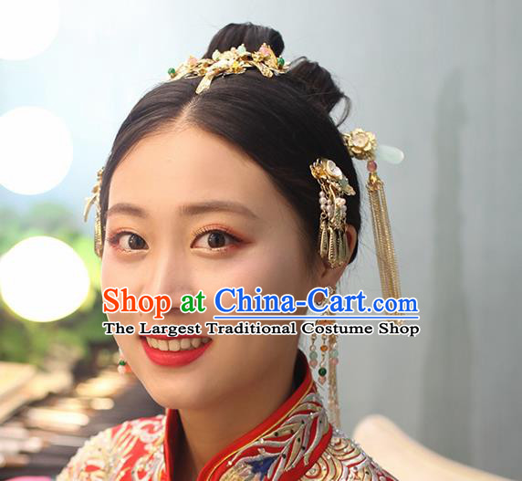 Chinese Ancient Traditional Hanfu Wedding Hairpins Handmade Classical Hair Accessories Complete Set for Women
