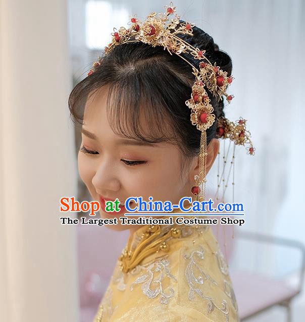 Chinese Ancient Traditional Hanfu Hairpins Handmade Bride Classical Hair Accessories Complete Set for Women