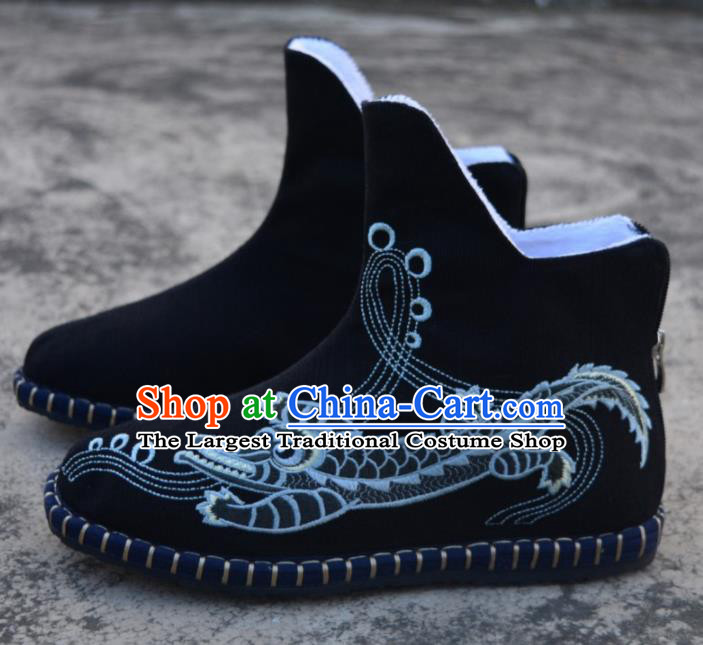Chinese Traditional Boots Ancient Swordsman Shoes Embroidered Crocodile Black Shoes for Men