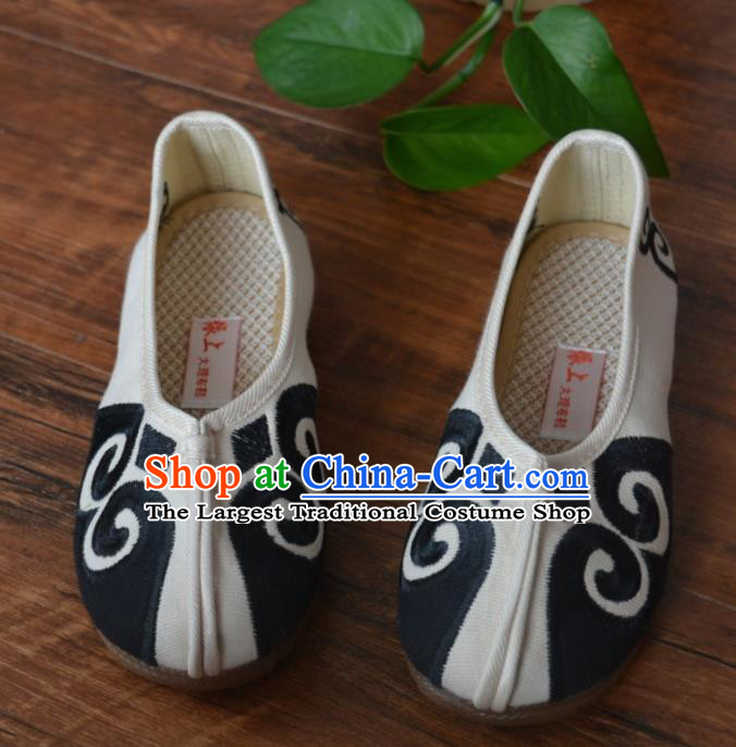 Chinese Traditional Shoes Ancient Monk Shoes White Cloth Shoes for Men