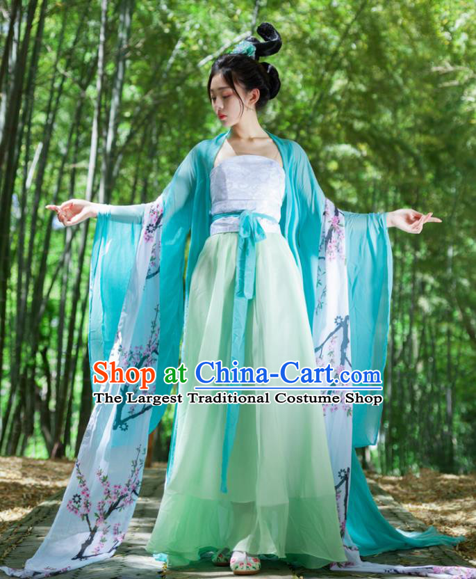 Traditional Chinese Tang Dynasty Palace Princess Green Hanfu Dress Ancient Drama Peri Goddess Costumes for Women