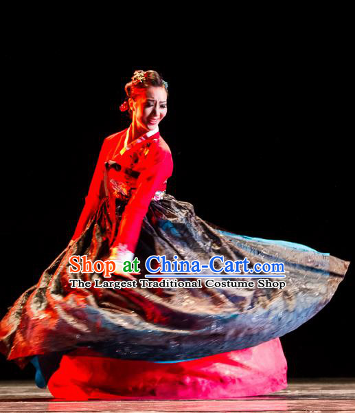 Chinese Traditional Folk Dance Group Dance Costumes Korean Nationality Stage Performance Dress for Women