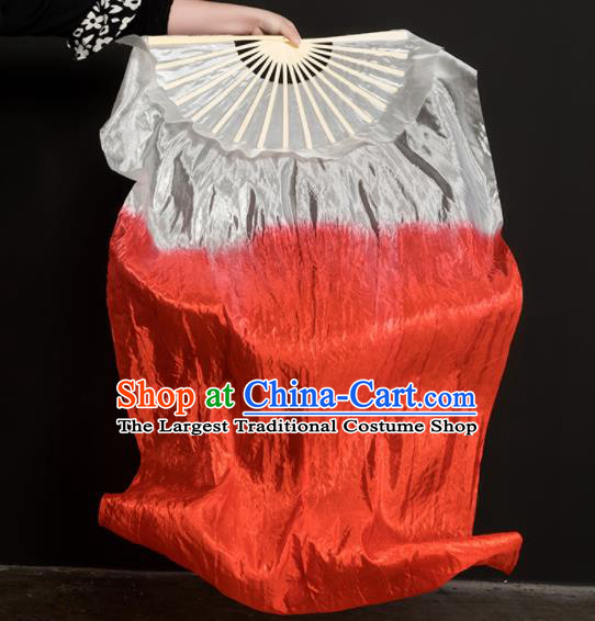 Chinese Traditional Folk Dance Props White and Red Ribbon Silk Fans Folding Fans Yangko Fan