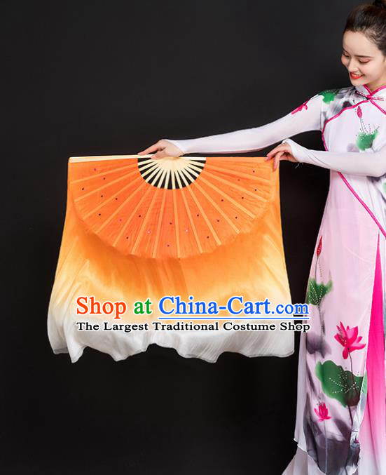 Chinese Traditional Folk Dance Props Double Sides Orange Ribbon Silk Fans Folding Fans Yangko Fan