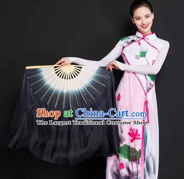 Chinese Traditional Folk Dance Props Double Sides Black Ribbon Silk Fans Folding Fans Yangko Fan