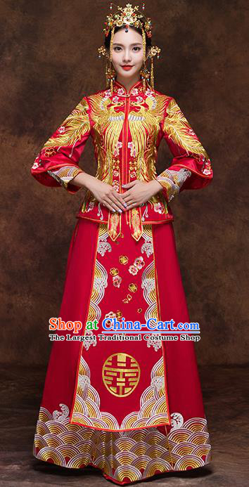 Chinese Traditional Wedding Dress Red Xiuhe Suits Ancient Bride Handmade Embroidered Costumes for Women