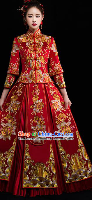 Chinese Traditional Wedding Dress Red Diamante Xiuhe Suits Ancient Bride Handmade Embroidered Peony Costumes for Women