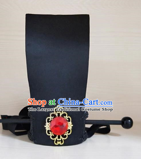 Chinese Ancient Nobility Childe Hair Accessories Black Hairdo Crown Han Dynasty Prince Headwear for Men