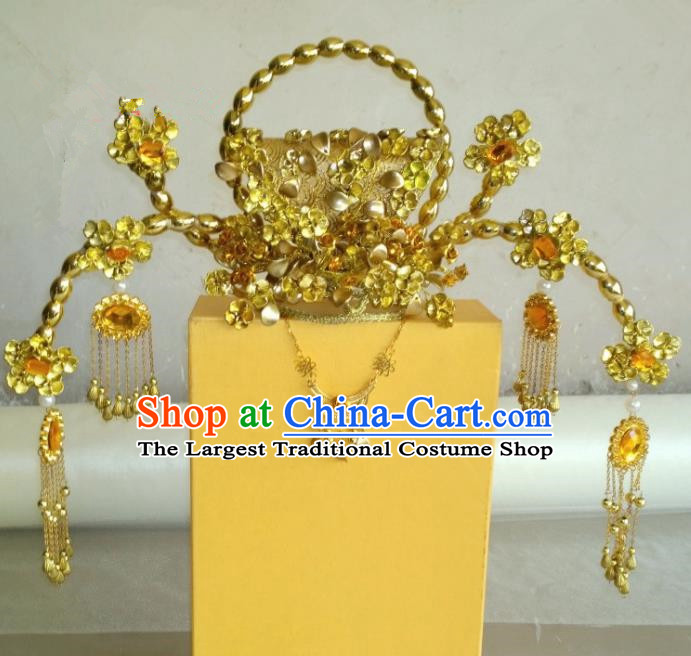 Chinese Ancient Wedding Golden Hair Accessories Tang Dynasty Empress Phoenix Coronet Headwear for Women