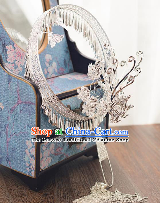 Chinese Ancient Wedding Accessories Bride Handmade Palace Fans Hanfu Argent Round Fans for Women