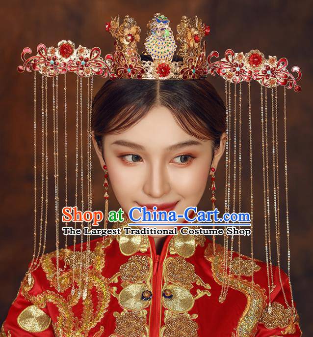Chinese Ancient Bride Red Phoenix Coronet Wedding Hair Accessories Palace Hairpins Headwear for Women