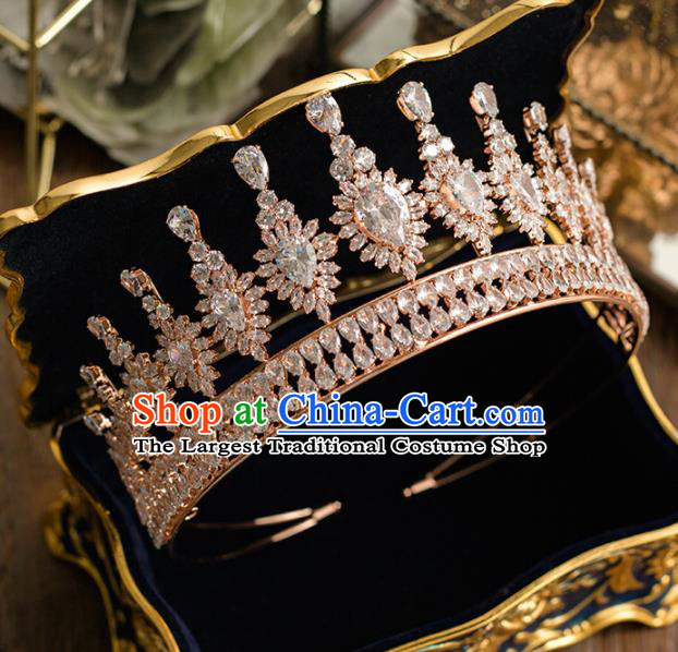 Top Grade Wedding Bride Hair Accessories Princess Handmade Champagne Crystal Royal Crown Headwear for Women