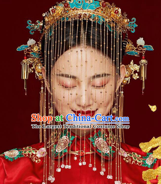Chinese Ancient Palace Bride Blueing Phoenix Coronet Wedding Hair Accessories Tassel Hairpins Headwear for Women